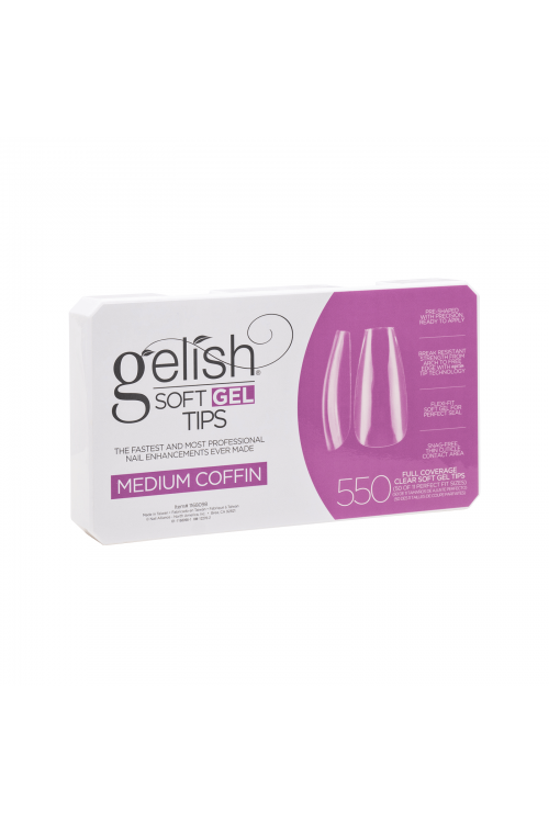 Gelish Soft Gel MEDIUM COFFIN Tips - Συσκ. 550τμχ